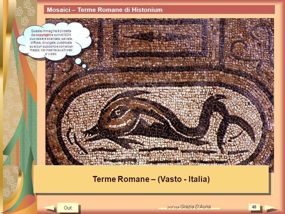 prof.ssa Grazia DAuria 48 Mosaici – Terme Romane di Histonium Terme Romane – (Vasto - Italia) Out Questa immagine è protetta da copyright e quindi NON puo essere scaricata, salvata, diffusa, divulgata, pubblicata su alcun supporto e con alcun mezzo, ne inserita su siti web e video.