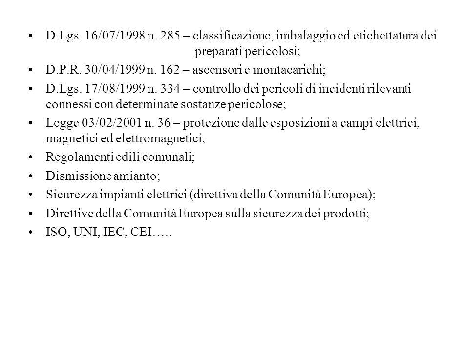 D.Lgs. 16/07/1998 n. 285 – classificazione, imbalaggio ed etichettatura dei preparati pericolosi; D.P.R. 30/04/1999 n. 162 – ascensori e montacarichi;