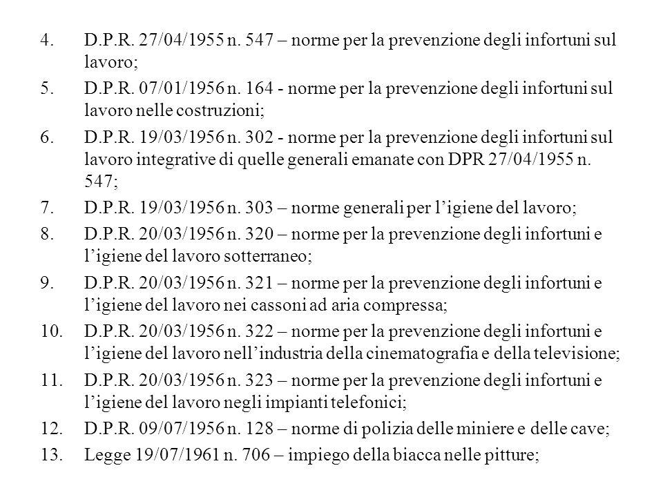 4.D.P.R. 27/04/1955 n. 547 – norme per la prevenzione degli infortuni sul lavoro; 5.D.P.R. 07/01/1956 n. 164 - norme per la prevenzione degli infortun