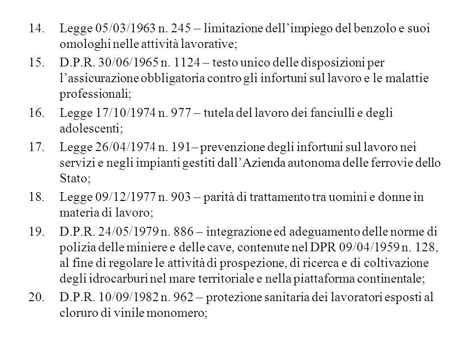 14.Legge 05/03/1963 n. 245 – limitazione dellimpiego del benzolo e suoi omologhi nelle attività lavorative; 15.D.P.R. 30/06/1965 n. 1124 – testo unico