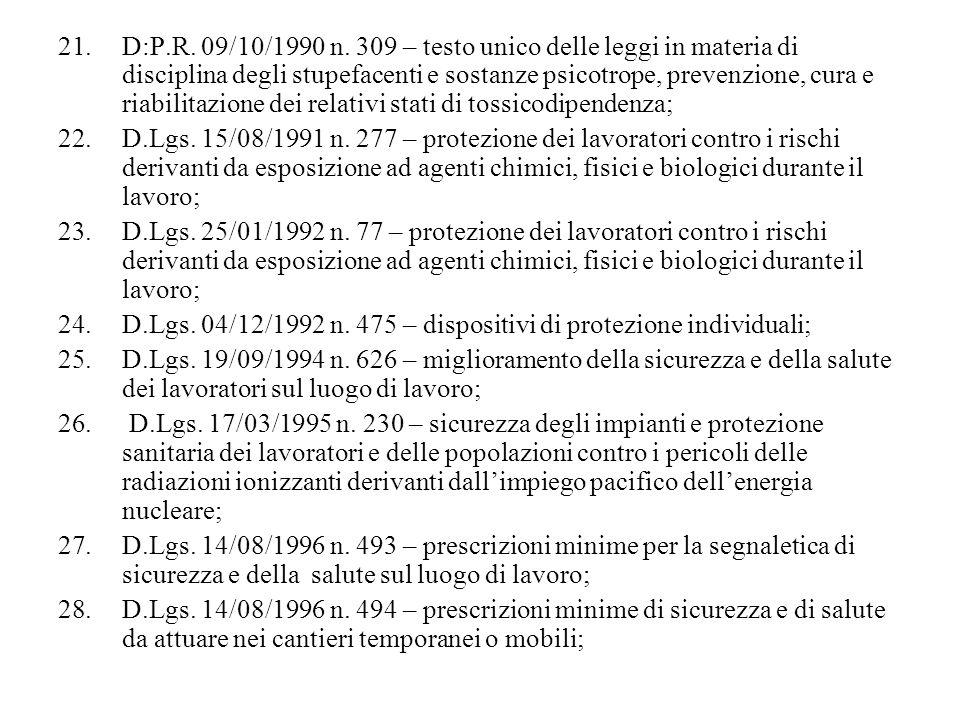 21.D:P.R. 09/10/1990 n. 309 – testo unico delle leggi in materia di disciplina degli stupefacenti e sostanze psicotrope, prevenzione, cura e riabilita