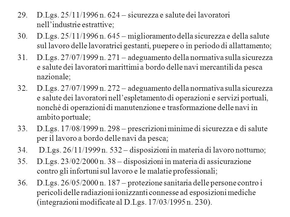 29.D.Lgs. 25/11/1996 n. 624 – sicurezza e salute dei lavoratori nellindustrie estrattive; 30.D.Lgs. 25/11/1996 n. 645 – miglioramento della sicurezza
