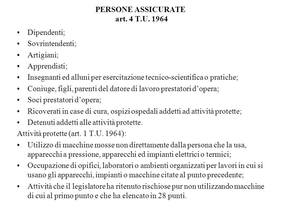 PERSONE ASSICURATE art. 4 T.U. 1964 Dipendenti; Sovrintendenti; Artigiani; Apprendisti; Insegnanti ed alluni per esercitazione tecnico-scientifica o p