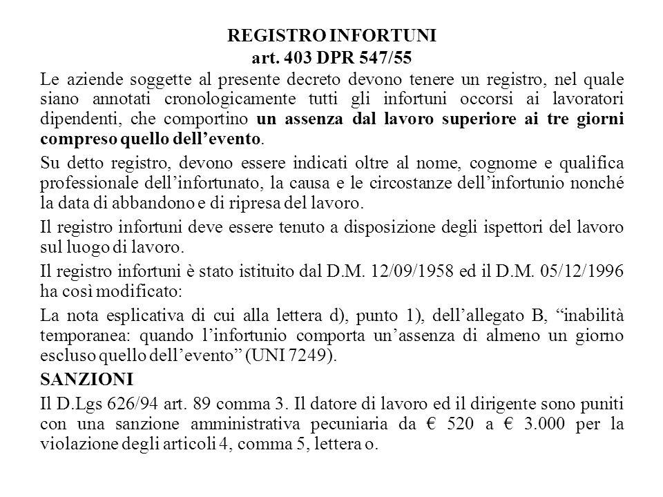 REGISTRO INFORTUNI art. 403 DPR 547/55 Le aziende soggette al presente decreto devono tenere un registro, nel quale siano annotati cronologicamente tu