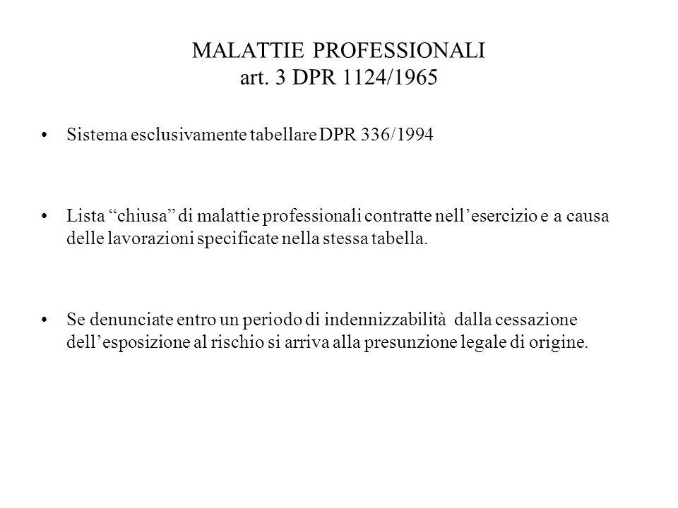 MALATTIE PROFESSIONALI art. 3 DPR 1124/1965 Sistema esclusivamente tabellare DPR 336/1994 Lista chiusa di malattie professionali contratte nelleserciz