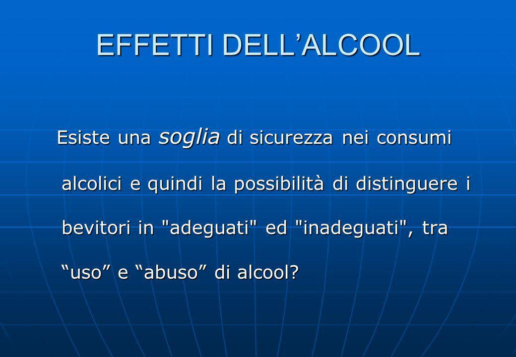 EFFETTI DELLALCOOL Esiste una soglia di sicurezza nei consumi alcolici e quindi la possibilità di distinguere i bevitori in