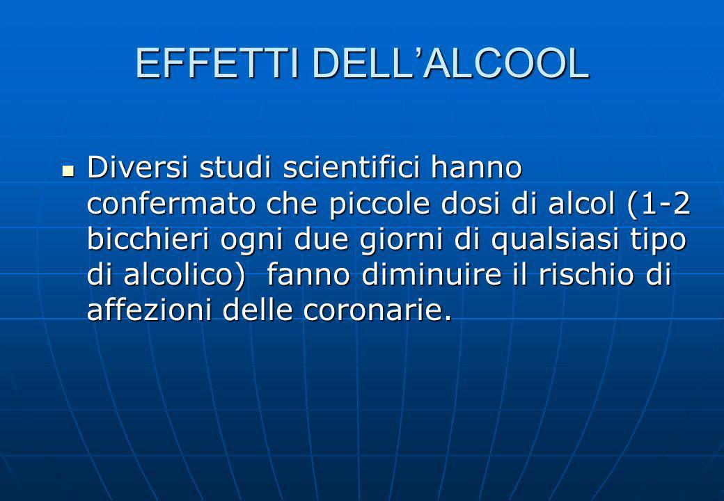 EFFETTI DELLALCOOL Diversi studi scientifici hanno confermato che piccole dosi di alcol (1-2 bicchieri ogni due giorni di qualsiasi tipo di alcolico)