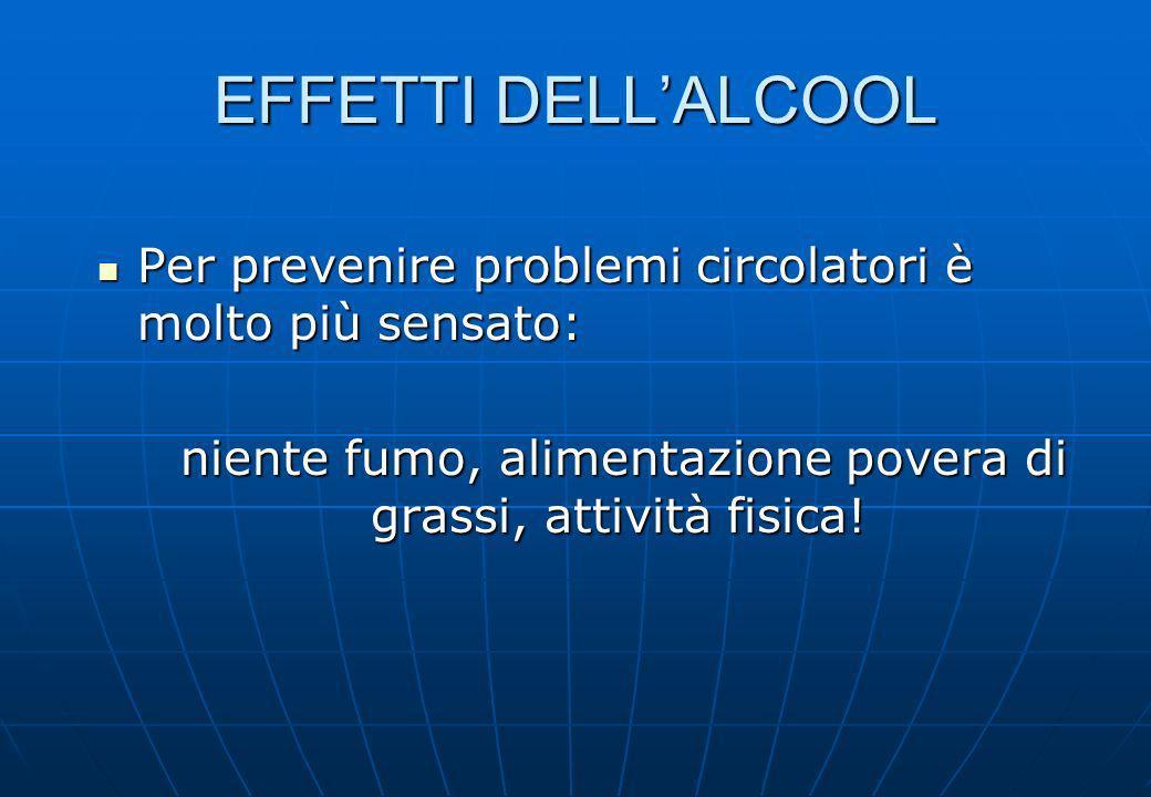 EFFETTI DELLALCOOL Per prevenire problemi circolatori è molto più sensato: Per prevenire problemi circolatori è molto più sensato: niente fumo, alimen