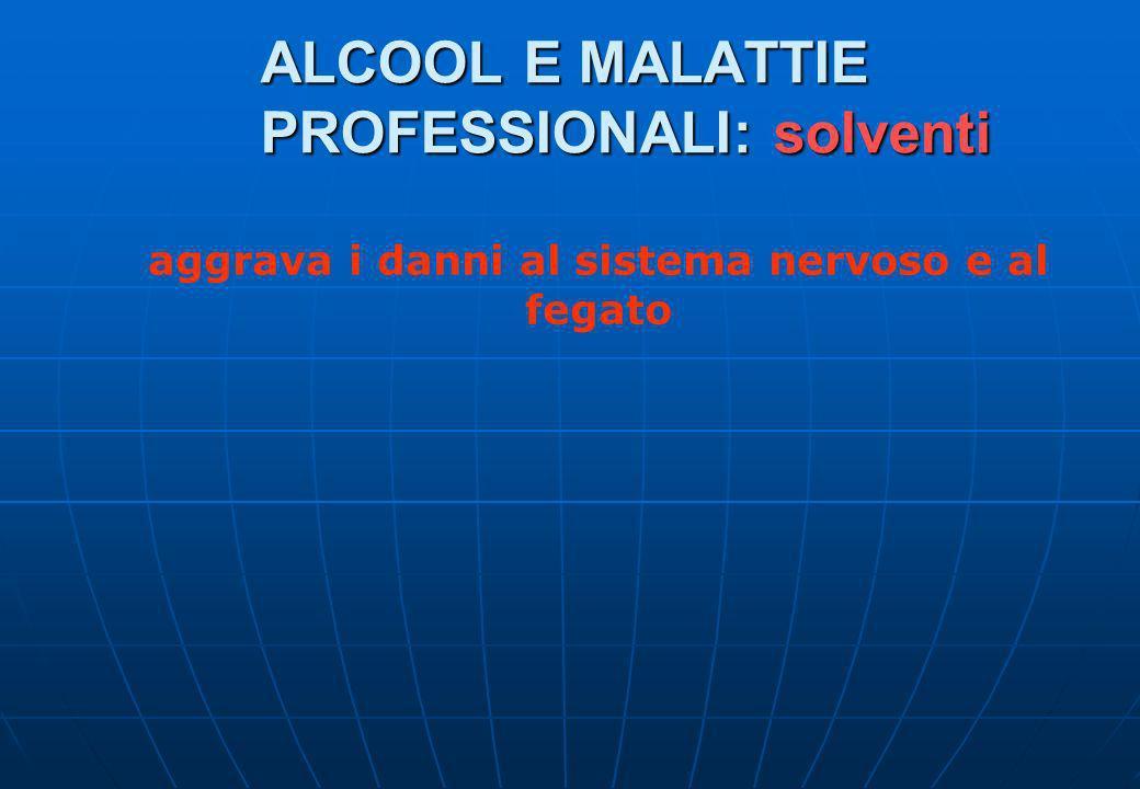 ALCOOL E MALATTIE PROFESSIONALI: solventi aggrava i danni al sistema nervoso e al fegato