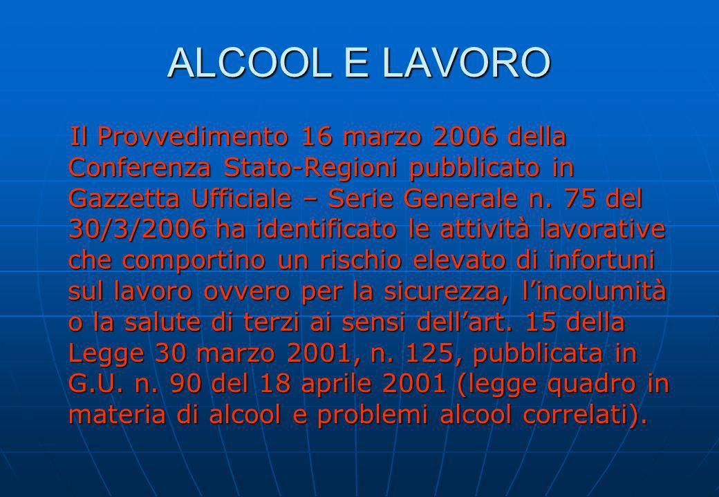 ALCOOL E LAVORO Il Provvedimento 16 marzo 2006 della Conferenza Stato-Regioni pubblicato in Gazzetta Ufficiale – Serie Generale n. 75 del 30/3/2006 ha