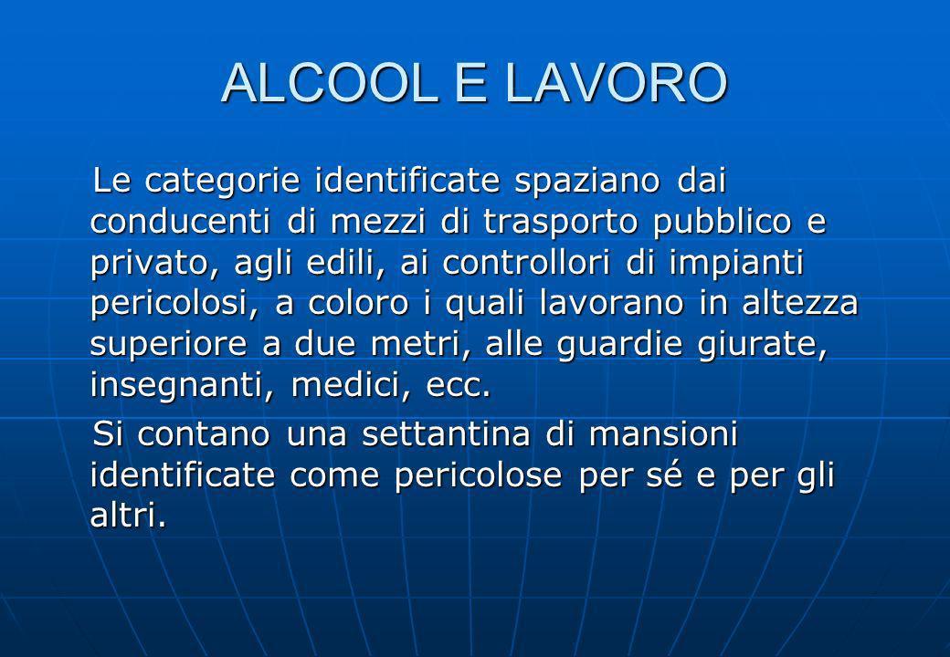 ALCOOL E LAVORO Le categorie identificate spaziano dai conducenti di mezzi di trasporto pubblico e privato, agli edili, ai controllori di impianti per