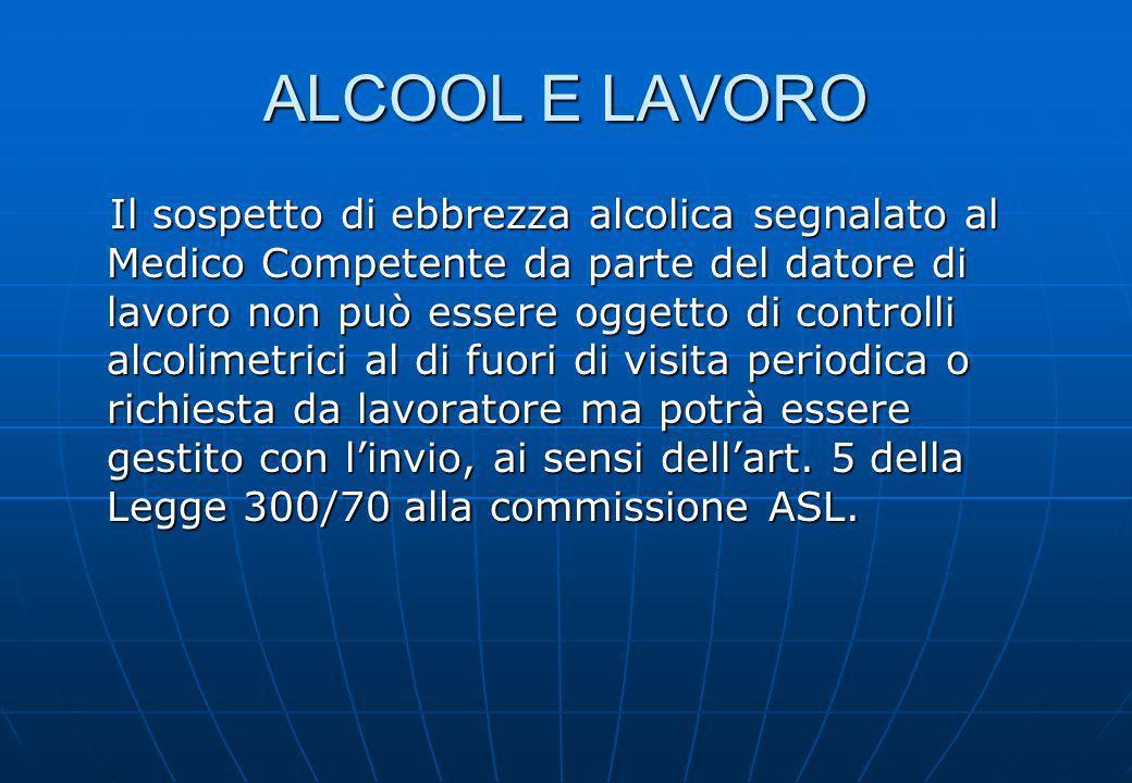 ALCOOL E LAVORO Il sospetto di ebbrezza alcolica segnalato al Medico Competente da parte del datore di lavoro non può essere oggetto di controlli alco