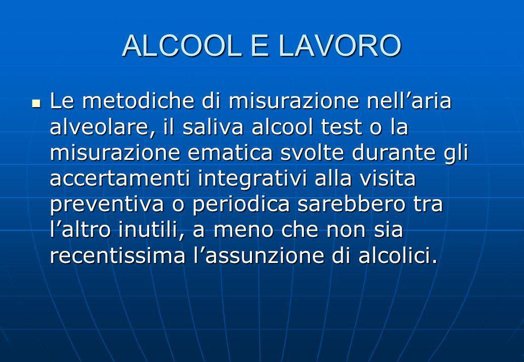 ALCOOL E LAVORO Le metodiche di misurazione nellaria alveolare, il saliva alcool test o la misurazione ematica svolte durante gli accertamenti integra