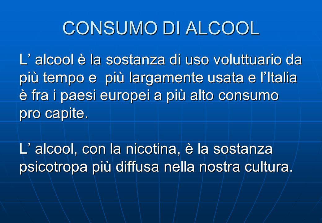 CONSUMO DI ALCOOL La possibilità di divenire dipendente da una sostanza è una predisposizione biologica di ogni persona.