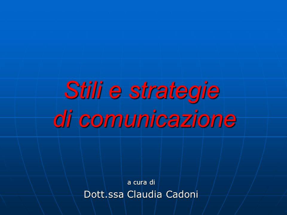Stili e strategie di comunicazione a cura di Dott.ssa Claudia Cadoni