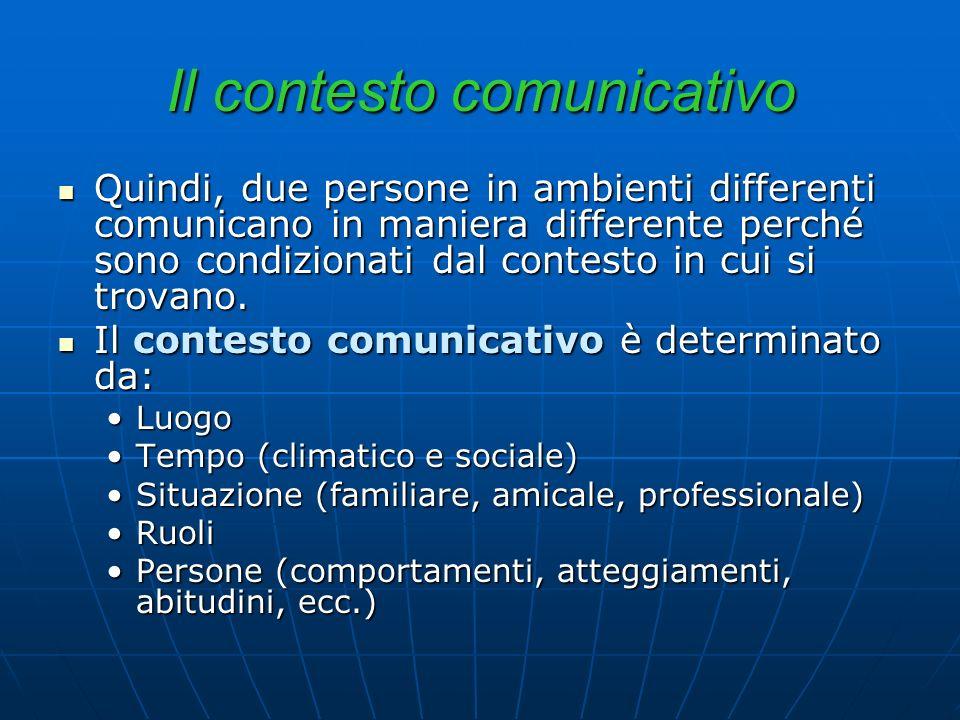 Il contesto comunicativo Quindi, due persone in ambienti differenti comunicano in maniera differente perché sono condizionati dal contesto in cui si t