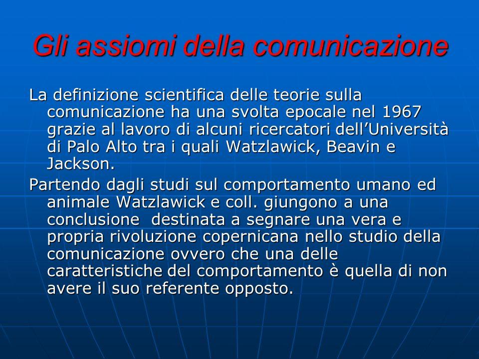 Gli assiomi della comunicazione La definizione scientifica delle teorie sulla comunicazione ha una svolta epocale nel 1967 grazie al lavoro di alcuni