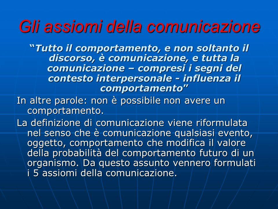 Gli assiomi della comunicazione Tutto il comportamento, e non soltanto il discorso, è comunicazione, e tutta la comunicazione – compresi i segni del c