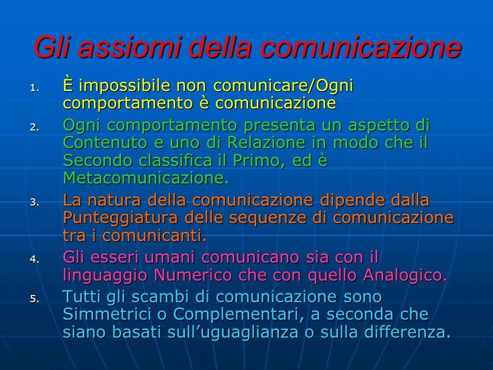 Gli assiomi della comunicazione 1. È impossibile non comunicare/Ogni comportamento è comunicazione 2. O gni comportamento presenta un aspetto di Conte