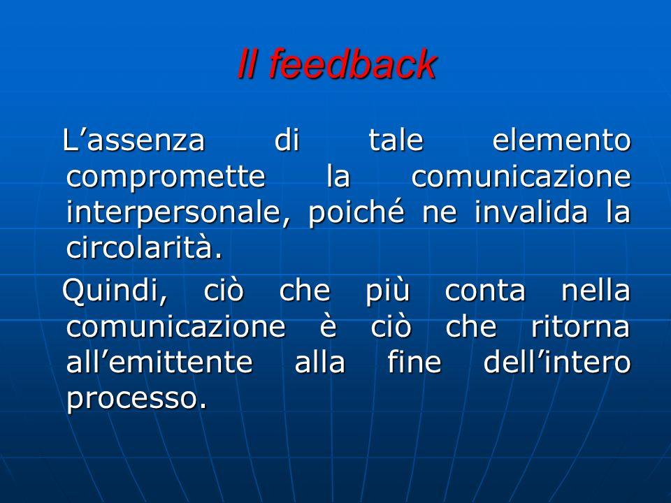 Il feedback Lassenza di tale elemento compromette la comunicazione interpersonale, poiché ne invalida la circolarità. Quindi, ciò che più conta nella