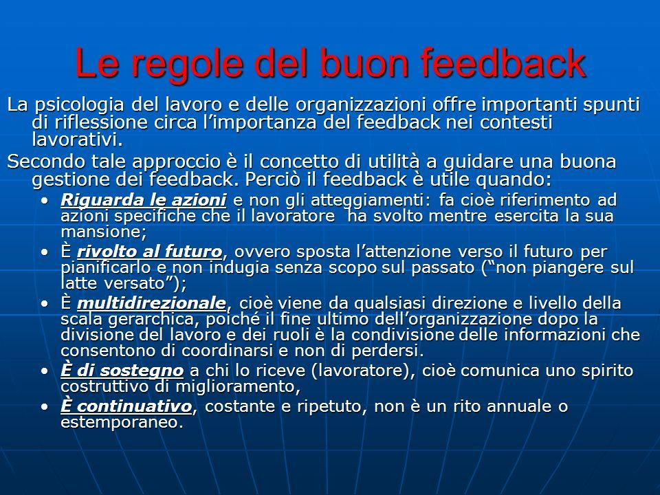 Le regole del buon feedback La psicologia del lavoro e delle organizzazioni offre importanti spunti di riflessione circa limportanza del feedback nei