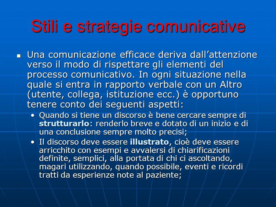 Stili e strategie comunicative Una comunicazione efficace deriva dallattenzione verso il modo di rispettare gli elementi del processo comunicativo. In
