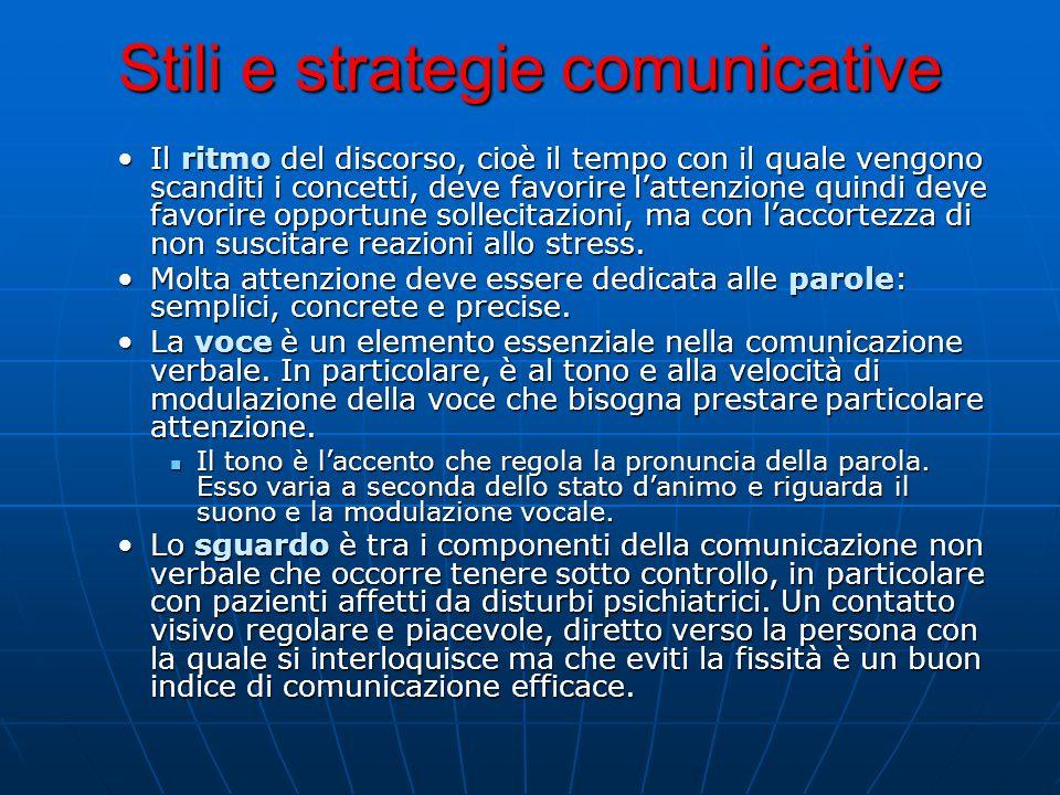 Stili e strategie comunicative Il ritmo del discorso, cioè il tempo con il quale vengono scanditi i concetti, deve favorire lattenzione quindi deve fa