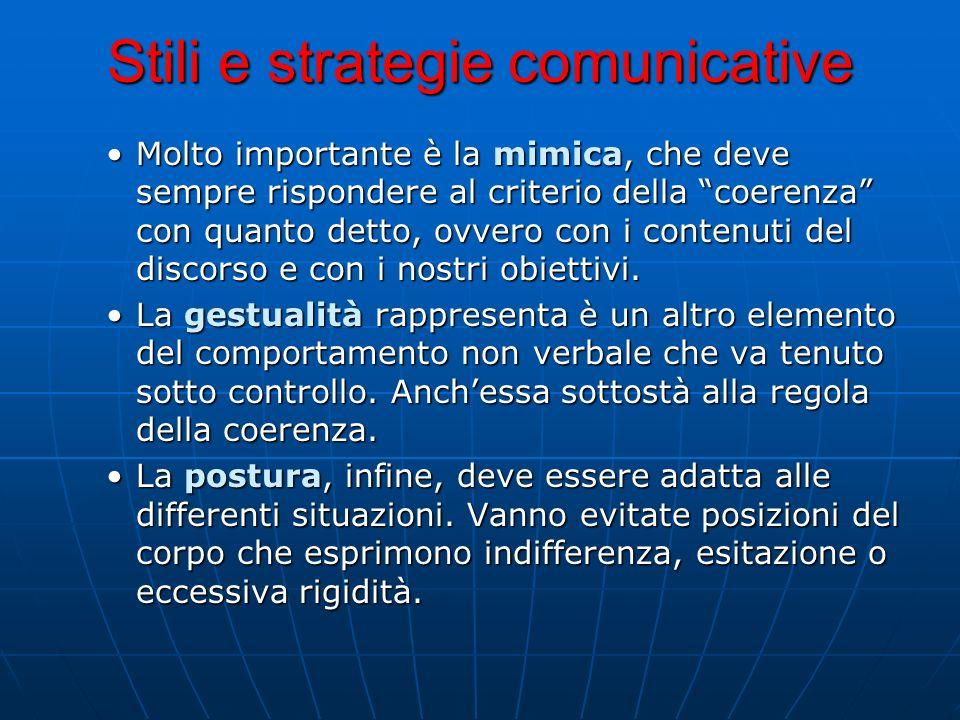 Stili e strategie comunicative Molto importante è la mimica, che deve sempre rispondere al criterio della coerenza con quanto detto, ovvero con i cont