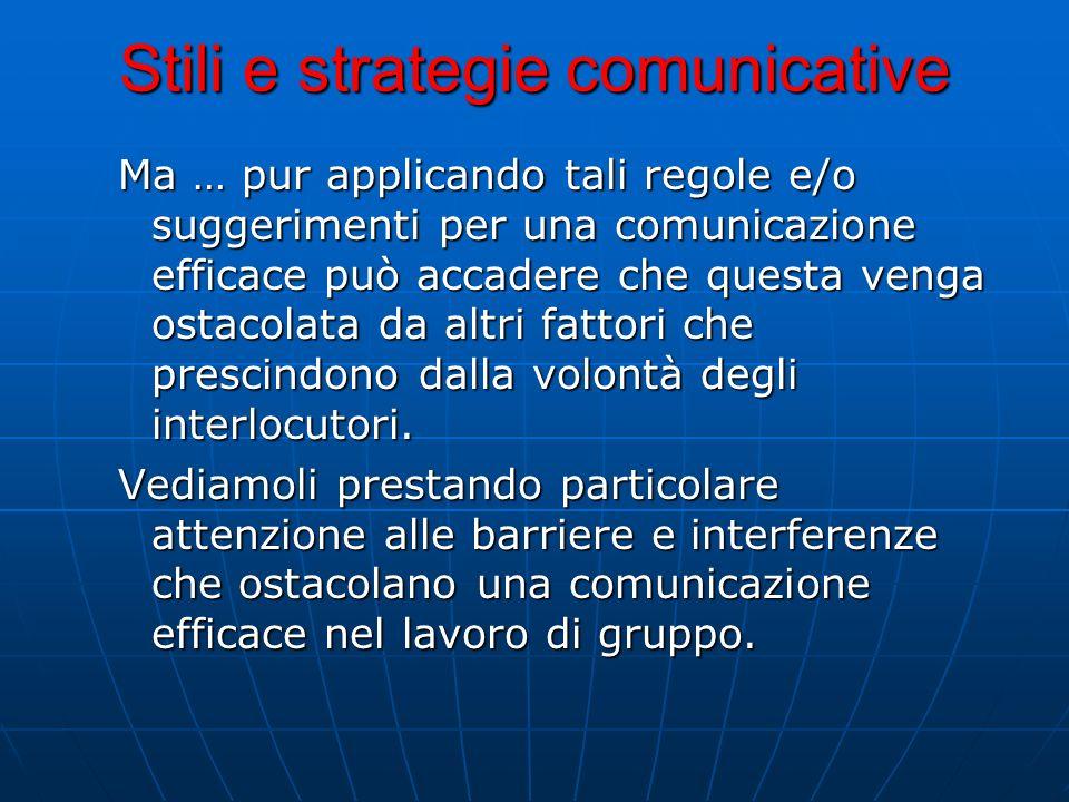 Stili e strategie comunicative Ma … pur applicando tali regole e/o suggerimenti per una comunicazione efficace può accadere che questa venga ostacolat