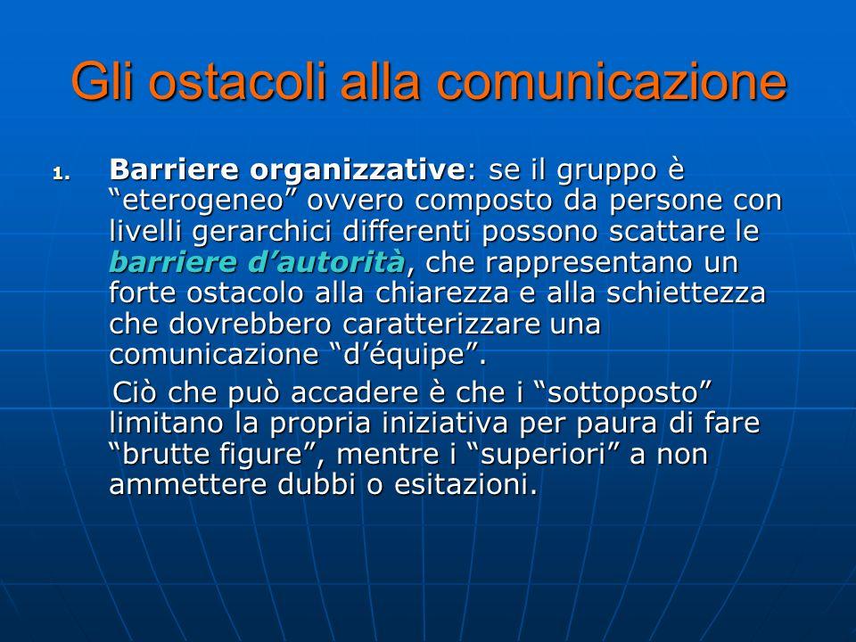 Gli ostacoli alla comunicazione 1. Barriere organizzative: se il gruppo è eterogeneo ovvero composto da persone con livelli gerarchici differenti poss
