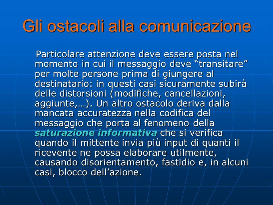 Gli ostacoli alla comunicazione Particolare attenzione deve essere posta nel momento in cui il messaggio deve transitare per molte persone prima di gi