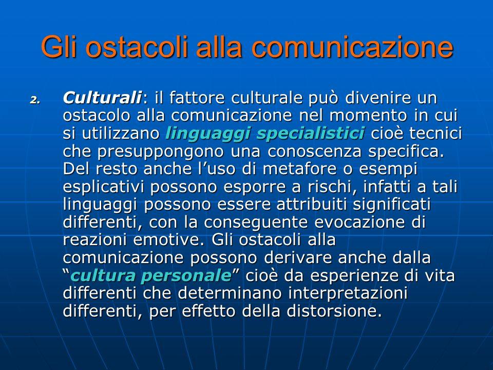 Gli ostacoli alla comunicazione 2. C ulturali: il fattore culturale può divenire un ostacolo alla comunicazione nel momento in cui si utilizzano lingu