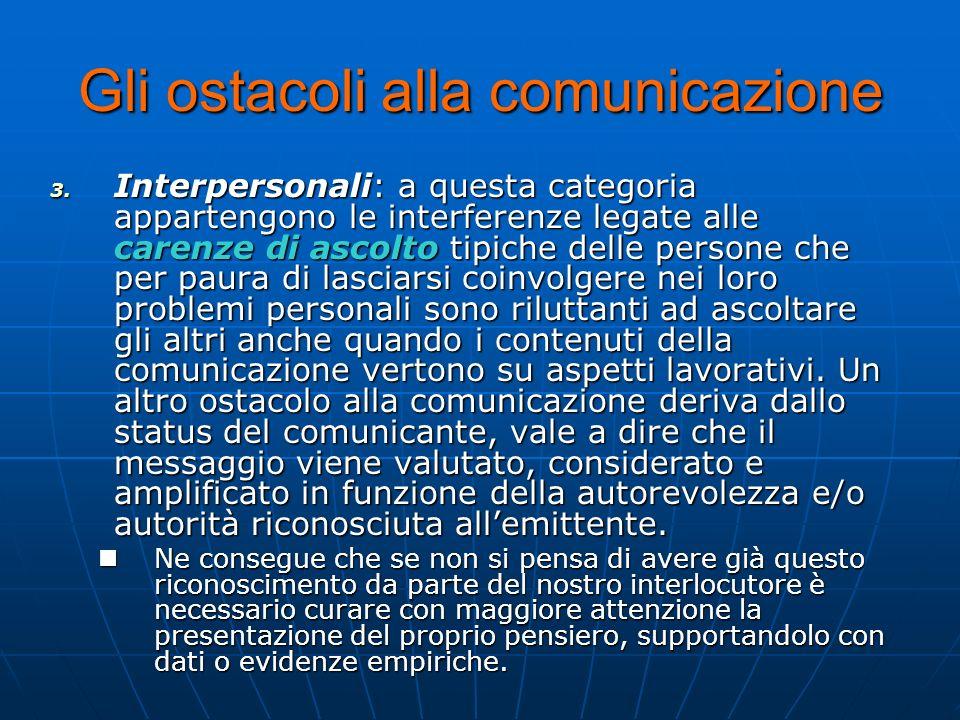 Gli ostacoli alla comunicazione 3. I nterpersonali: a questa categoria appartengono le interferenze legate alle carenze di ascolto tipiche delle perso