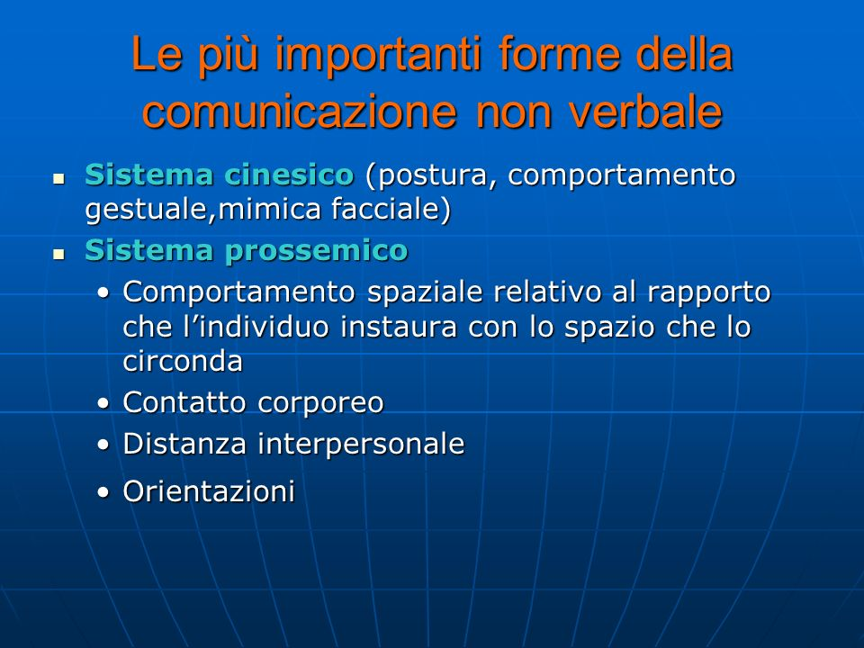 Le più importanti forme della comunicazione non verbale Sistema cinesico (postura, comportamento gestuale,mimica facciale) Sistema prossemico Comporta