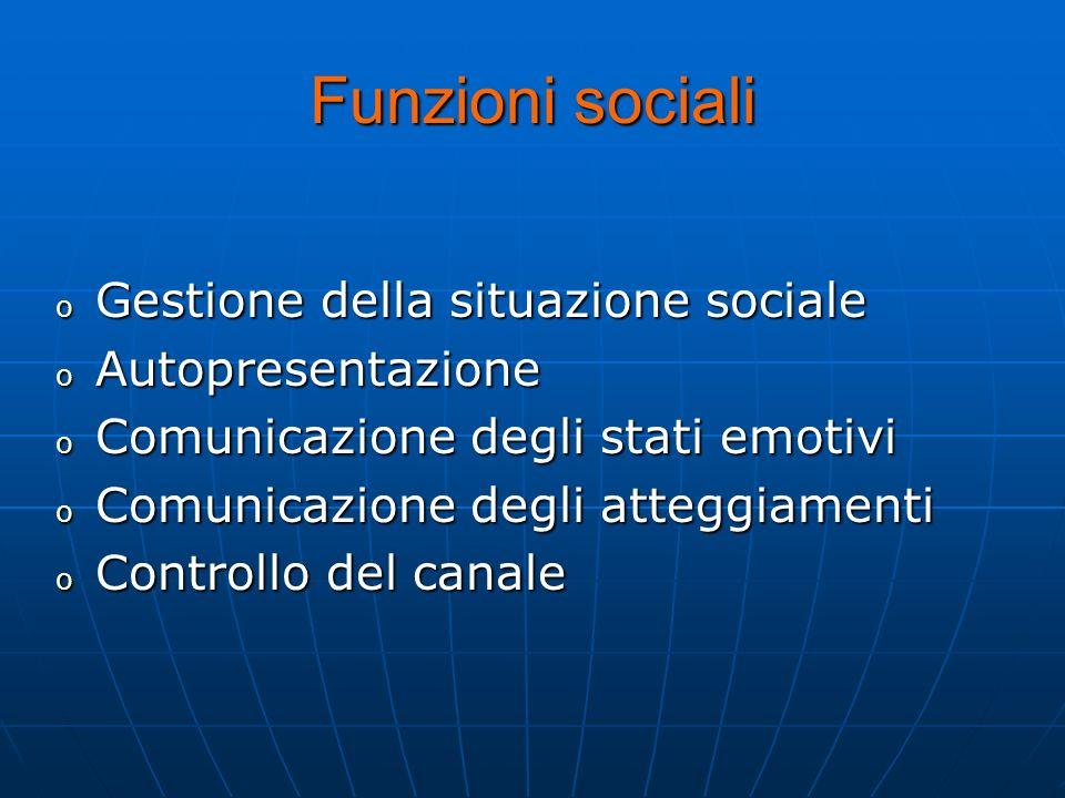 Funzioni sociali o Gestione della situazione sociale o Autopresentazione o Comunicazione degli stati emotivi o Comunicazione degli atteggiamenti o Con