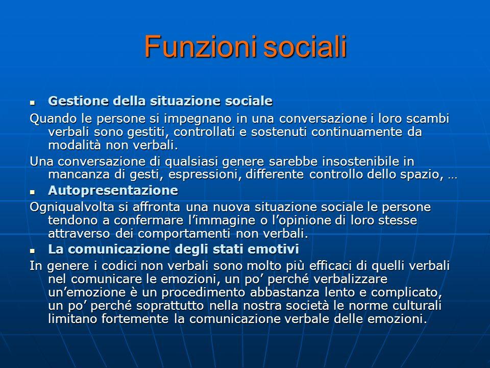Funzioni sociali Gestione della situazione sociale Gestione della situazione sociale Quando le persone si impegnano in una conversazione i loro scambi