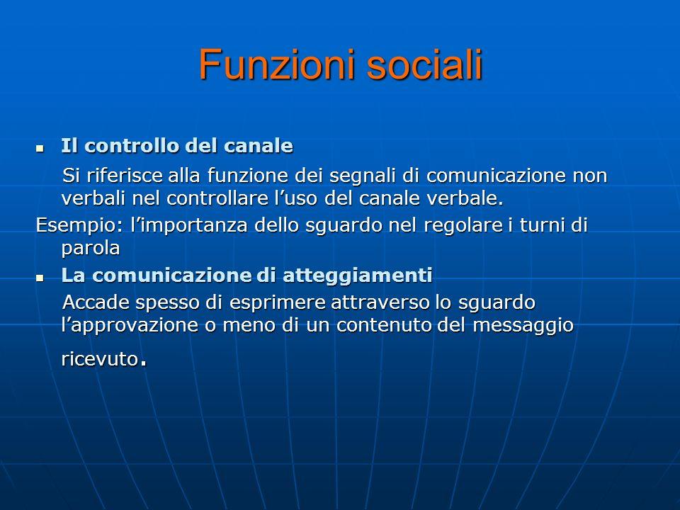 Funzioni sociali Il controllo del canale Il controllo del canale Si riferisce alla funzione dei segnali di comunicazione non verbali nel controllare l