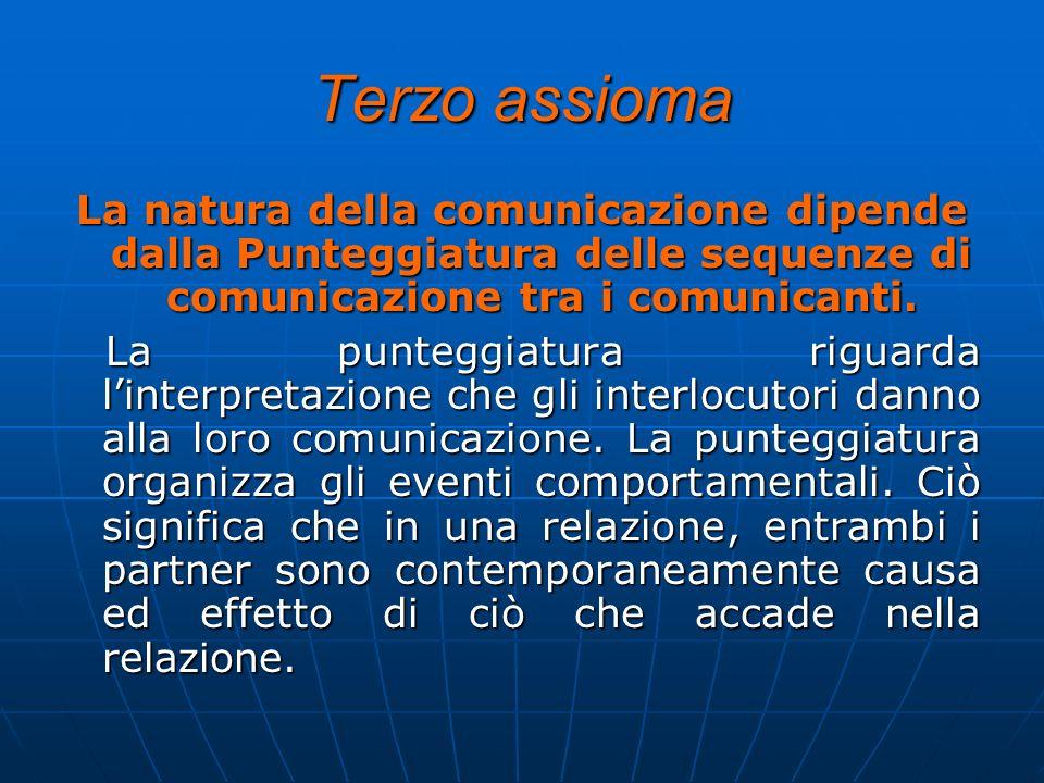 Terzo assioma La natura della comunicazione dipende dalla Punteggiatura delle sequenze di comunicazione tra i comunicanti. La punteggiatura riguarda l