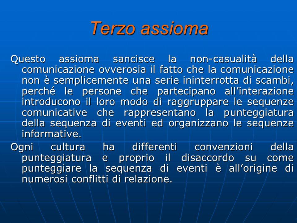 Terzo assioma Questo assioma sancisce la non-casualità della comunicazione ovverosia il fatto che la comunicazione non è semplicemente una serie inint