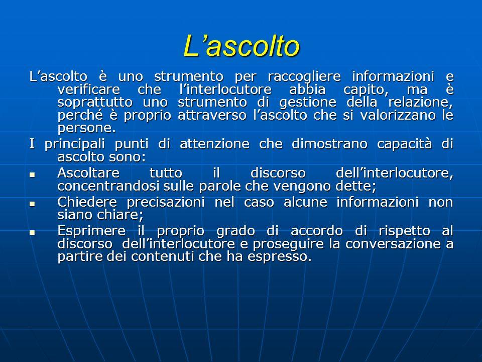 Lascolto Lascolto è uno strumento per raccogliere informazioni e verificare che linterlocutore abbia capito, ma è soprattutto uno strumento di gestion