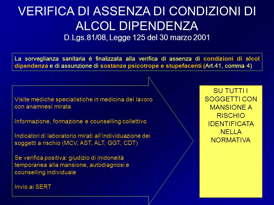 VERIFICA DI ASSENZA DI CONDIZIONI DI ALCOL DIPENDENZA D.Lgs.81/08, Legge 125 del 30 marzo 2001 Visite mediche specialistiche in medicina del lavoro co
