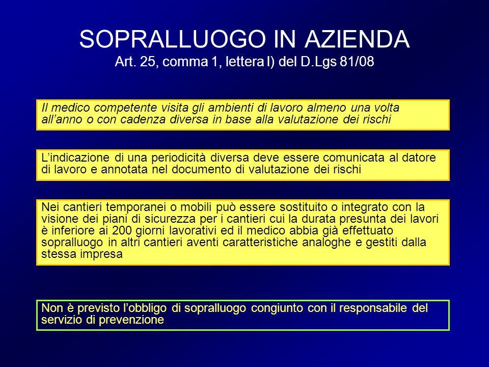SOPRALLUOGO IN AZIENDA Art. 25, comma 1, lettera l) del D.Lgs 81/08 Il medico competente visita gli ambienti di lavoro almeno una volta allanno o con