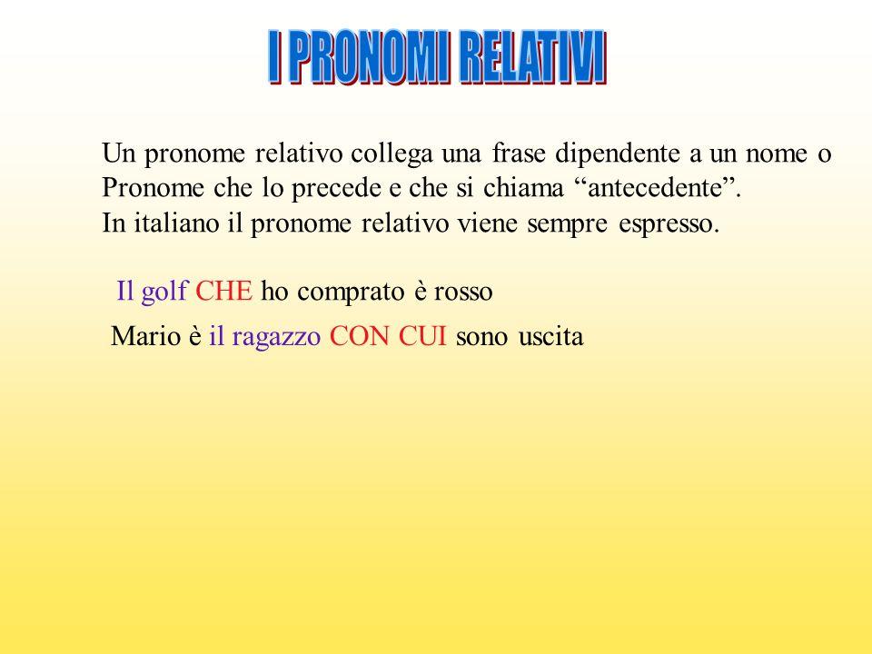 Un pronome relativo collega una frase dipendente a un nome o Pronome che lo precede e che si chiama antecedente. In italiano il pronome relativo viene