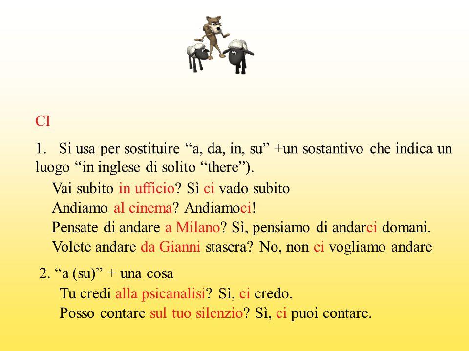 CI 1.Si usa per sostituire a, da, in, su +un sostantivo che indica un luogo in inglese di solito there).