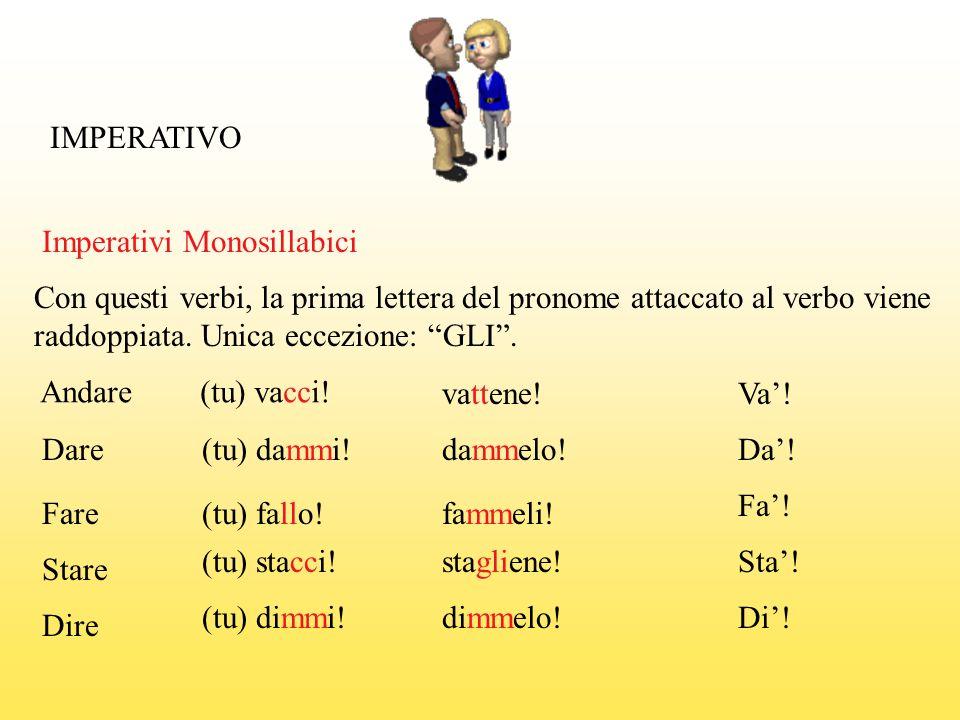 IMPERATIVO Imperativi Monosillabici Con questi verbi, la prima lettera del pronome attaccato al verbo viene raddoppiata. Unica eccezione: GLI. Andare(