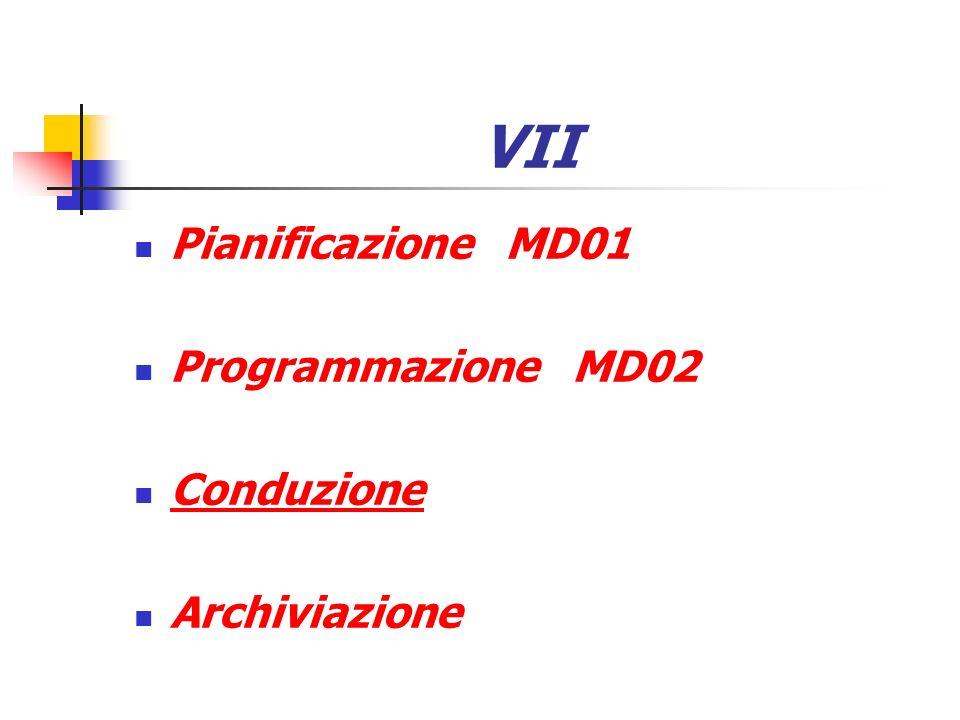 VII Pianificazione MD01 Programmazione MD02 Conduzione Archiviazione