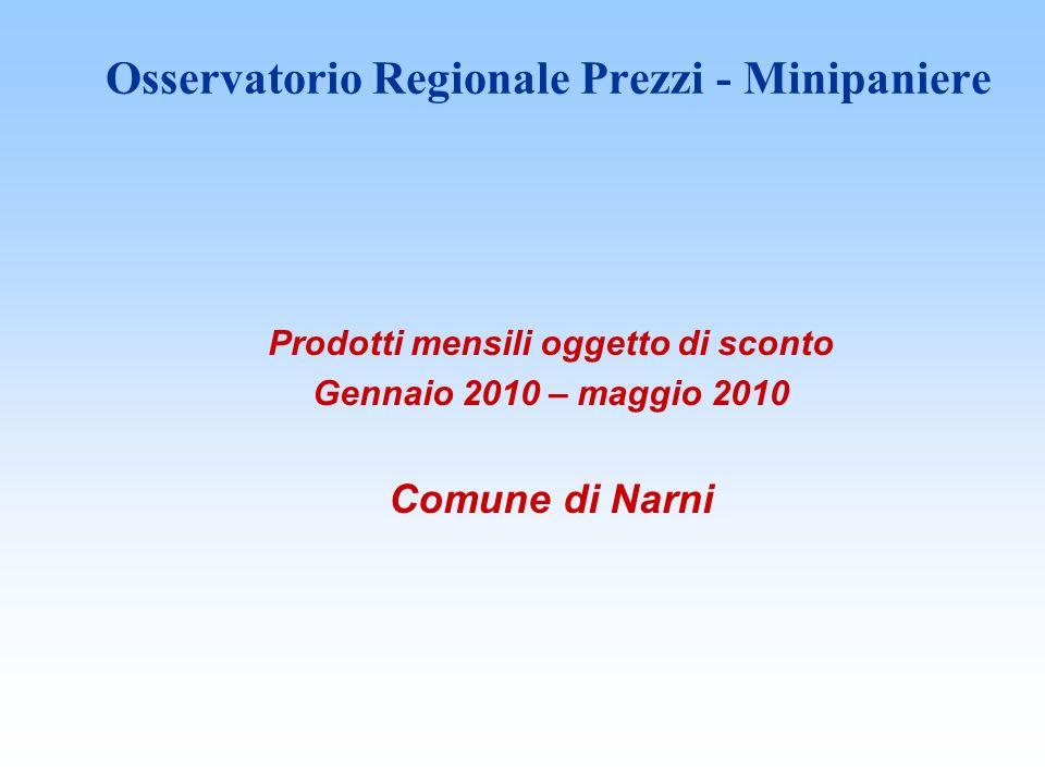 Osservatorio Regionale Prezzi - Minipaniere Prodotti mensili oggetto di sconto Gennaio 2010 – maggio 2010 Comune di Narni