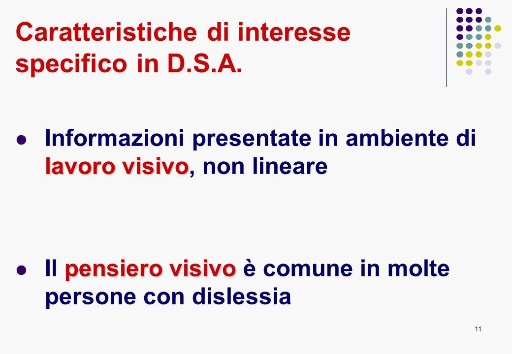11 Caratteristiche di interesse specifico in D.S.A. lavoro visivo Informazioni presentate in ambiente di lavoro visivo, non lineare pensiero visivo Il