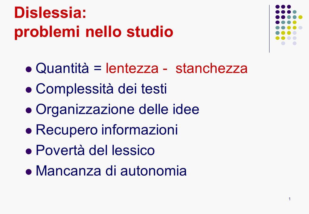 1 Dislessia: problemi nello studio Quantità = lentezza - stanchezza Complessità dei testi Organizzazione delle idee Recupero informazioni Povertà del