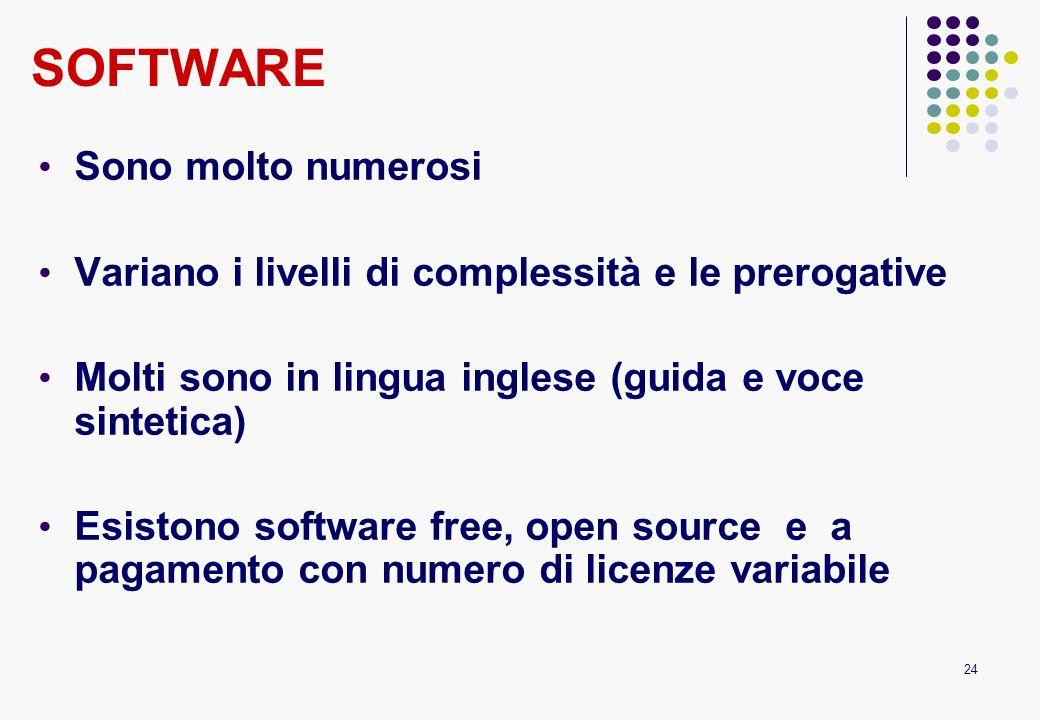 24 SOFTWARE Sono molto numerosi Variano i livelli di complessità e le prerogative Molti sono in lingua inglese (guida e voce sintetica) Esistono softw